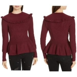Ted Baker | Cozy Maroon Elsahi peplum knit Sweater